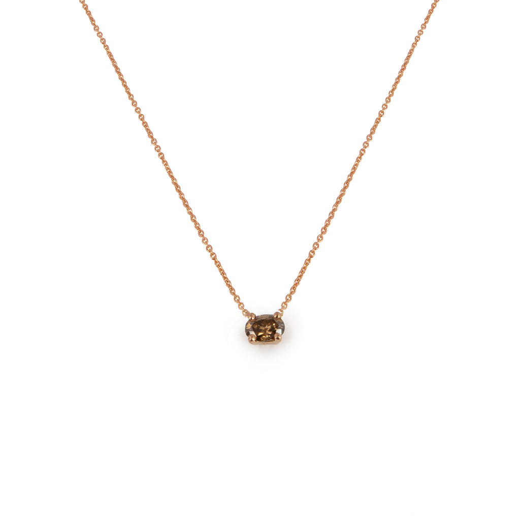 18kt Gold Necklace with cream Diamond pendant
