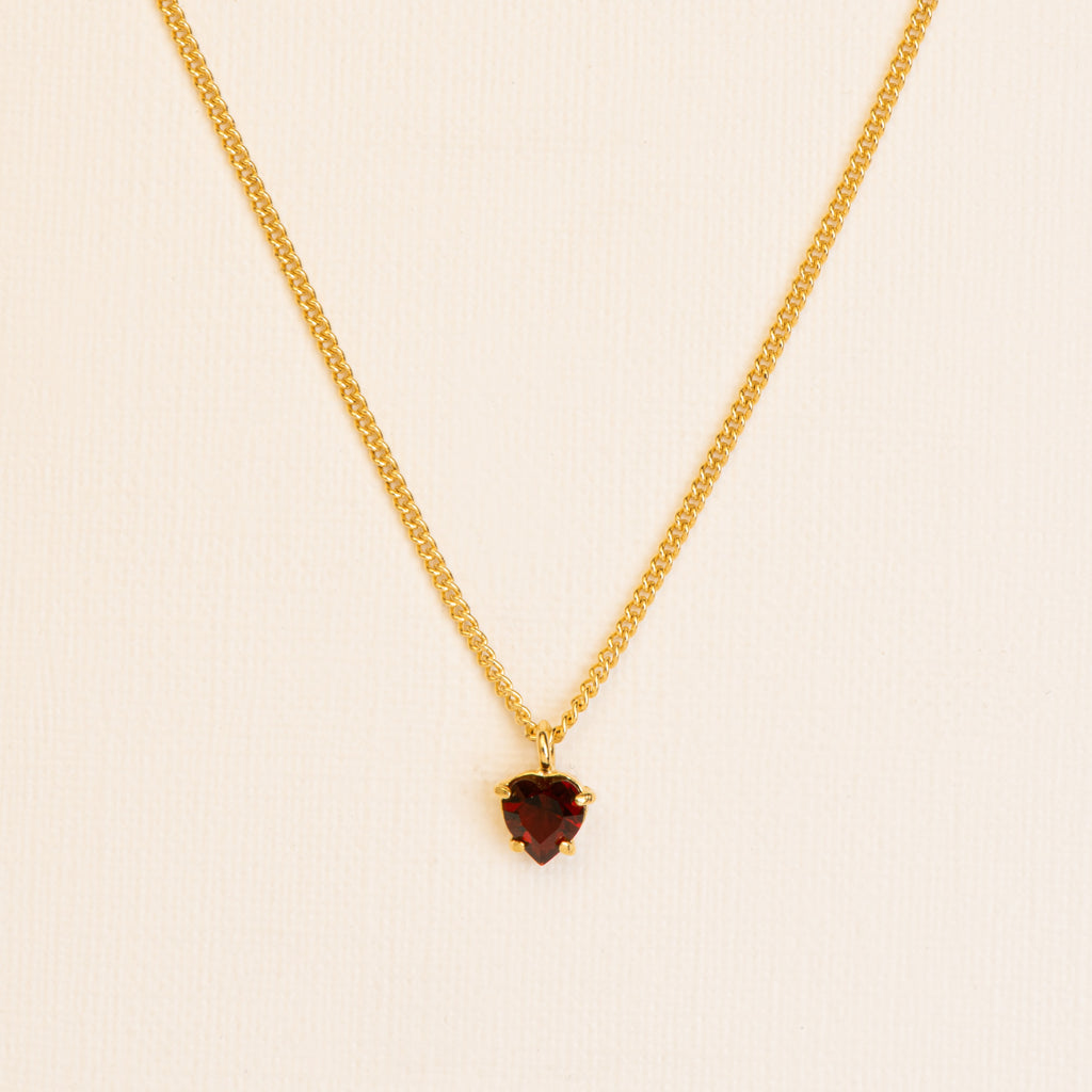 Fine Necklace with heart cut Garnet