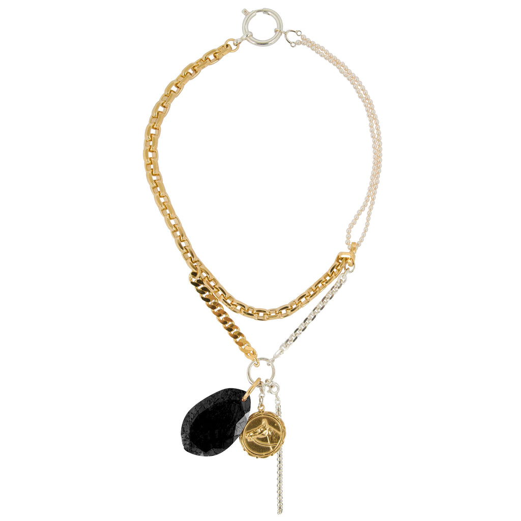 Necklace with Onyx and dangling pendants