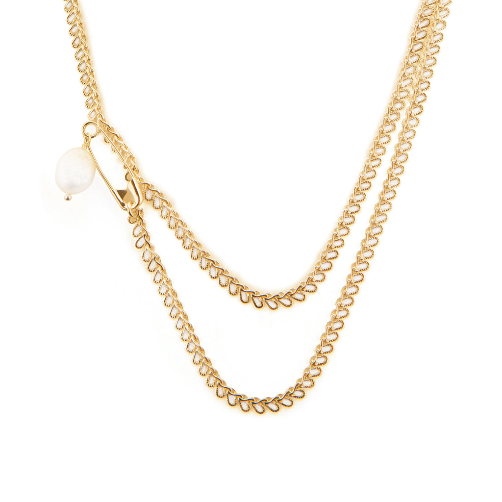 Statement Chain Necklace with Safety Pin and Freshwater Pearl