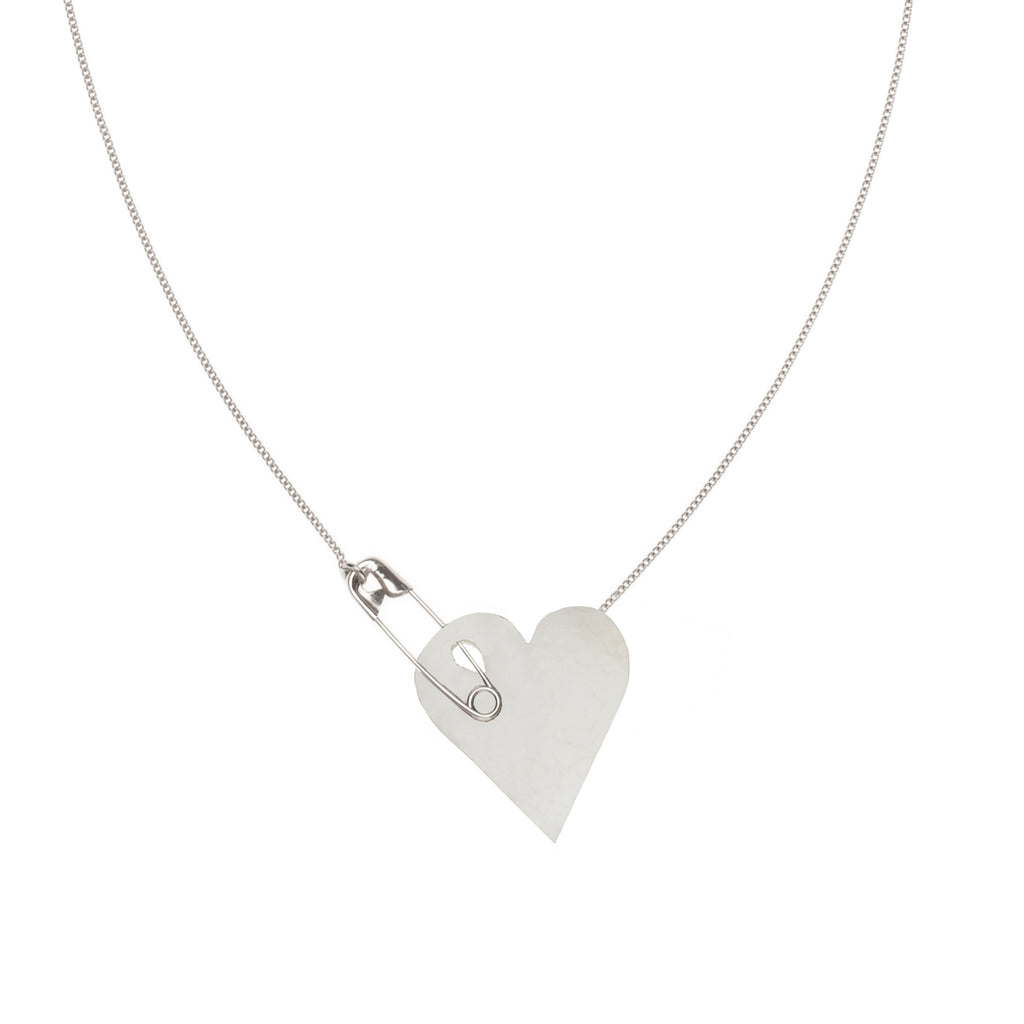 Necklace with heart and safety pin