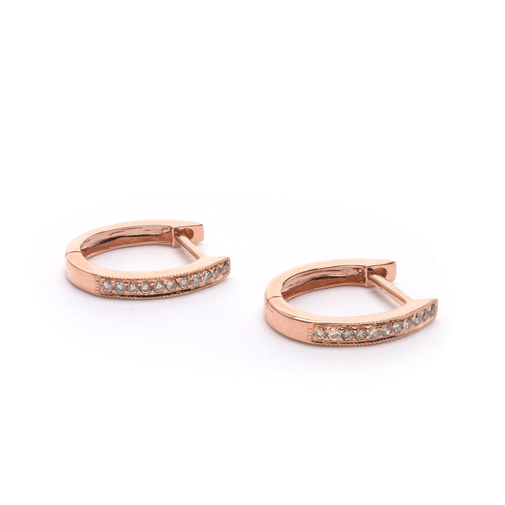 18kt Gold Hoop Earrings with Cream Diamonds