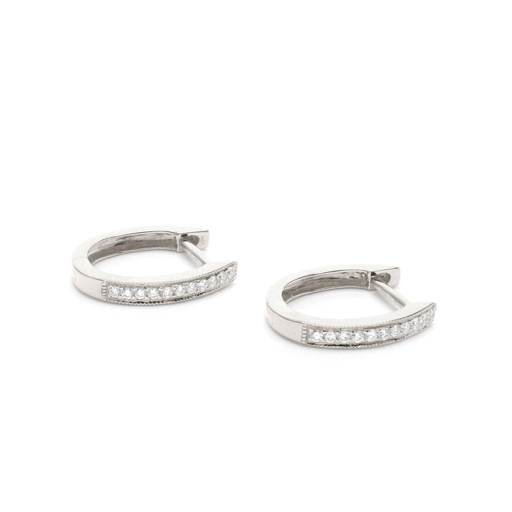 18kt Gold hoop earrings with White Diamonds