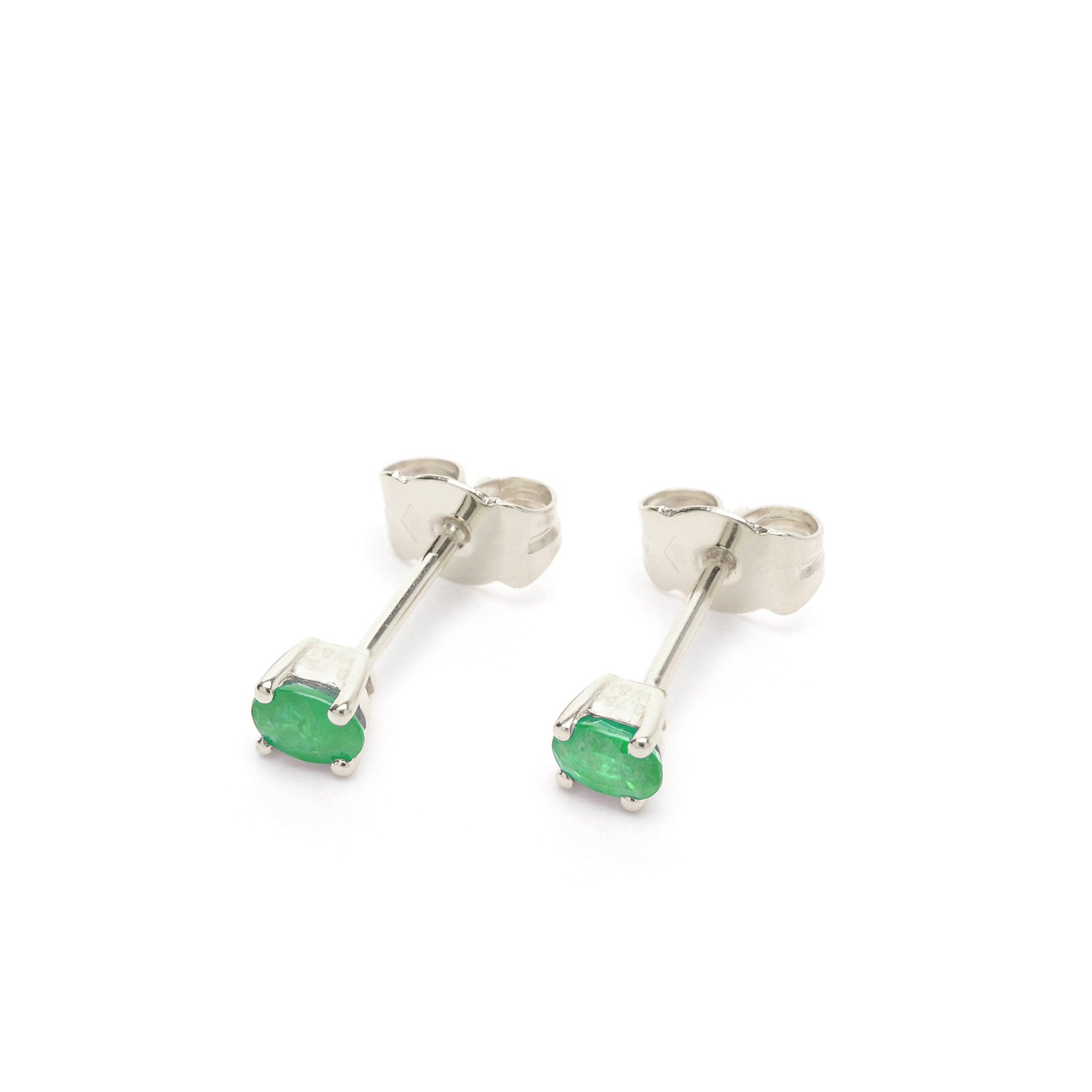 18kt Gold Stud Earrings with Emerald