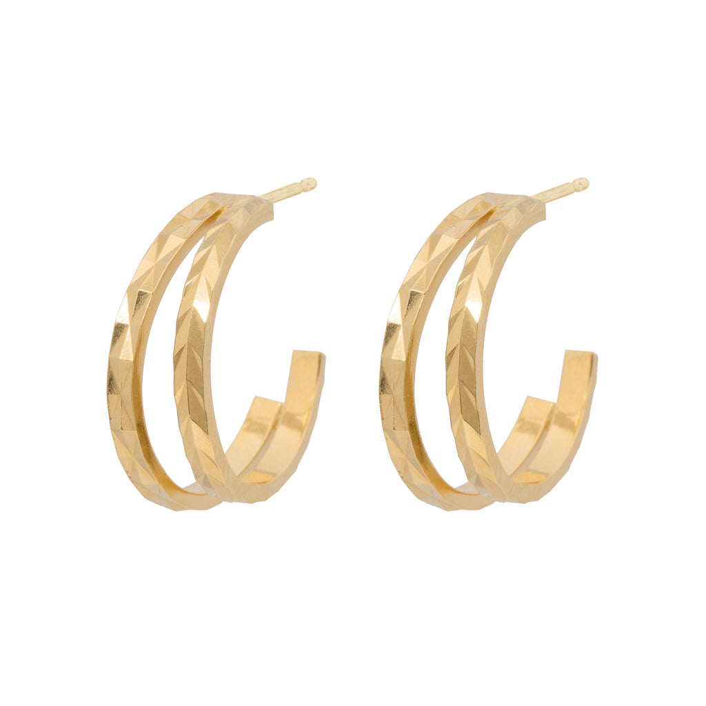 Delicate textured double Hoop Earrings