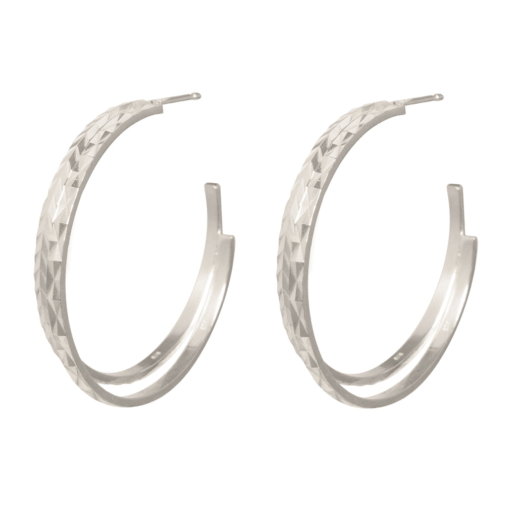 Statement textured double Hoop Earrings