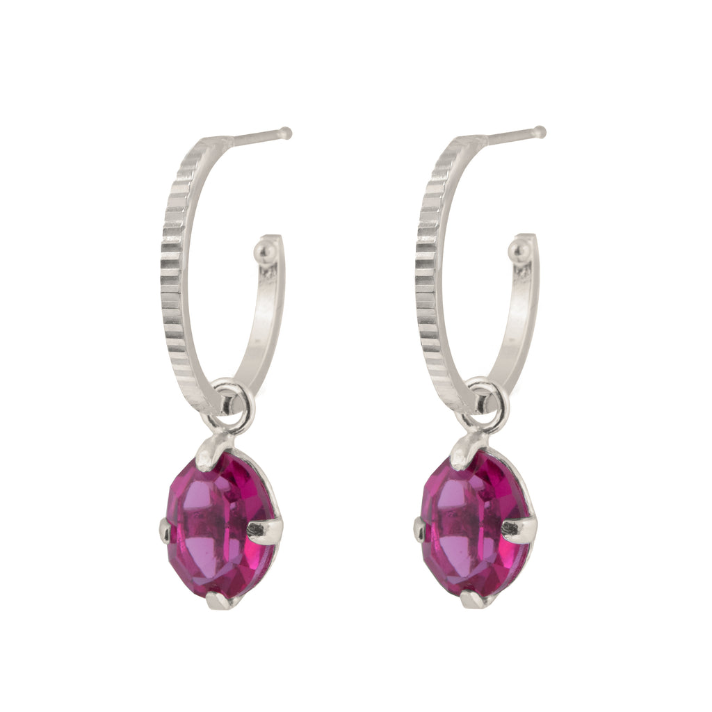 Fine textured Hoop Earrings with fuchsia crystal