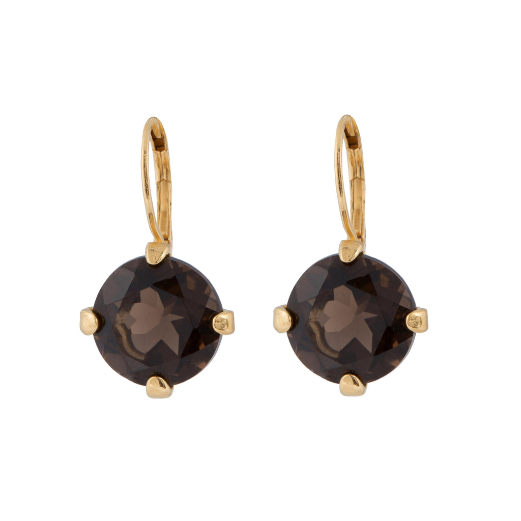 Leverback Earrings with round Smoky Quartz