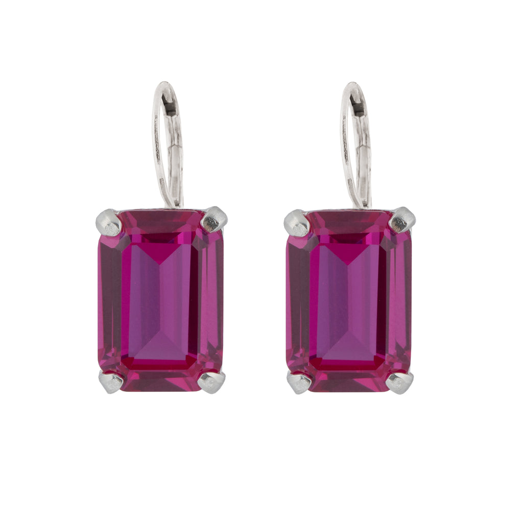 Leverback Earrings with fuchsia Corundum