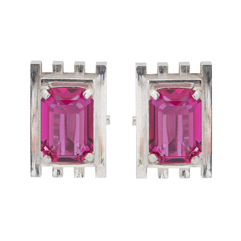 Clip Earrings with fuchsia Corundum