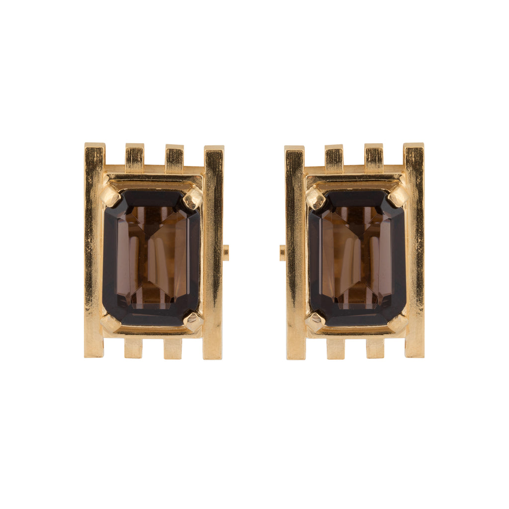 Clip Earrings with Smoky Quartz