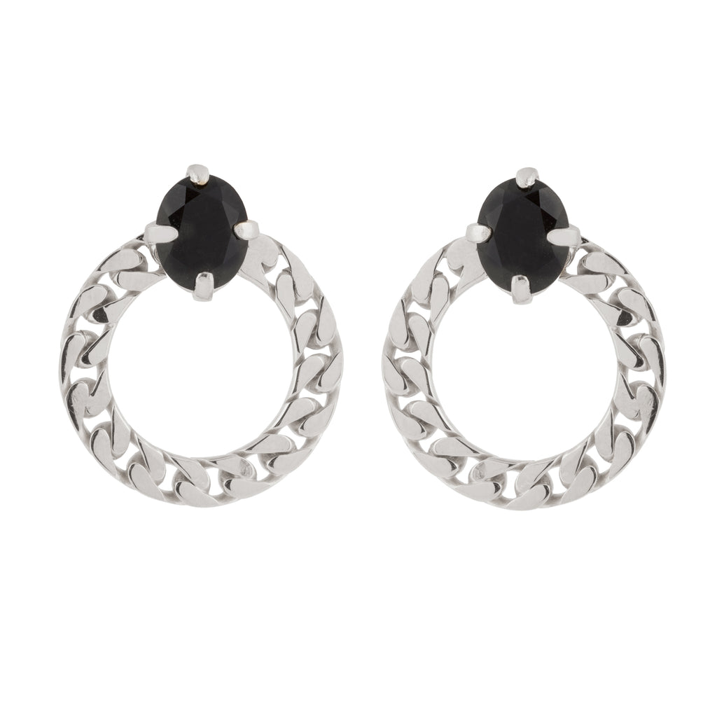 Circle Stud Earrings with Onyx stone
