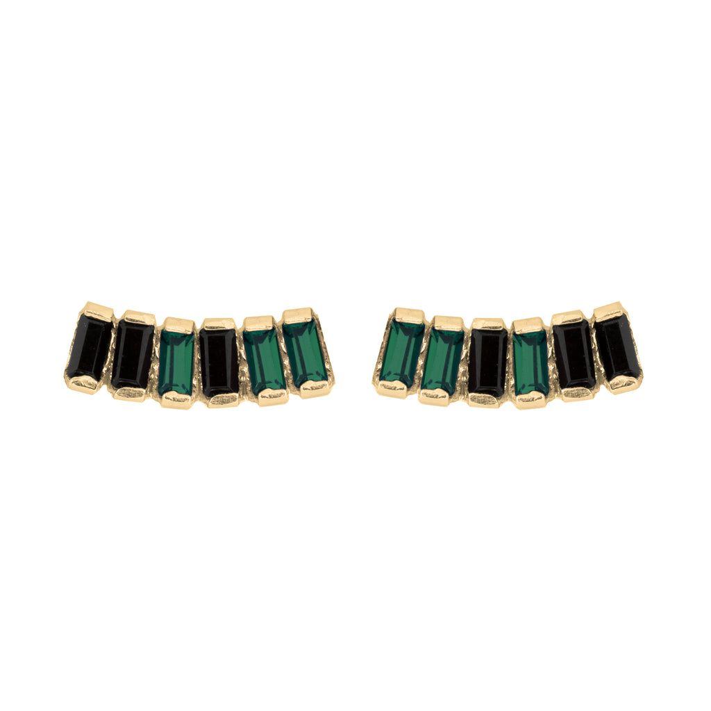 Stud Earrings with emerald and jet crystals