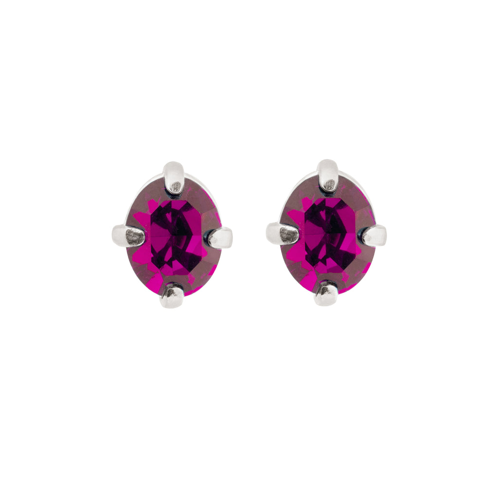 Fine Stud Earrings with fuchsia crystal