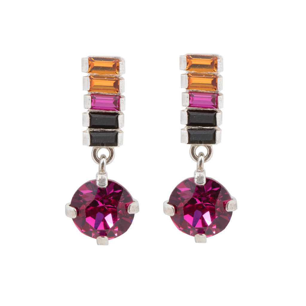 Elegant Stud Earrings with fuchsia crystal pendant