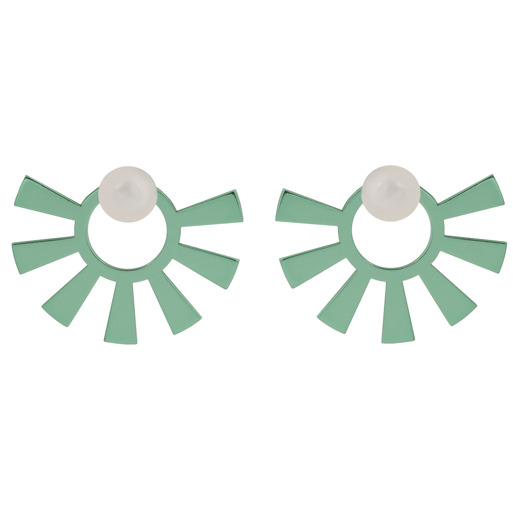 Stud Earrings with green sun and Pearl