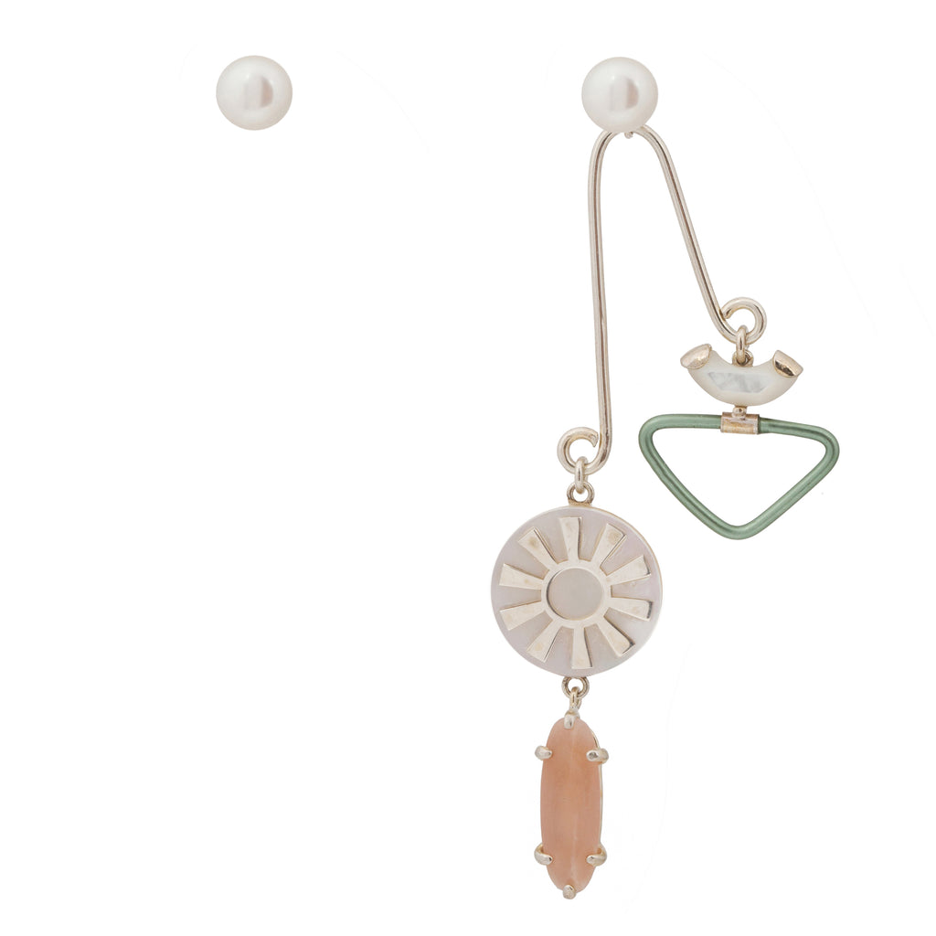 Mixed Earrings with balancing pendant and Pearls
