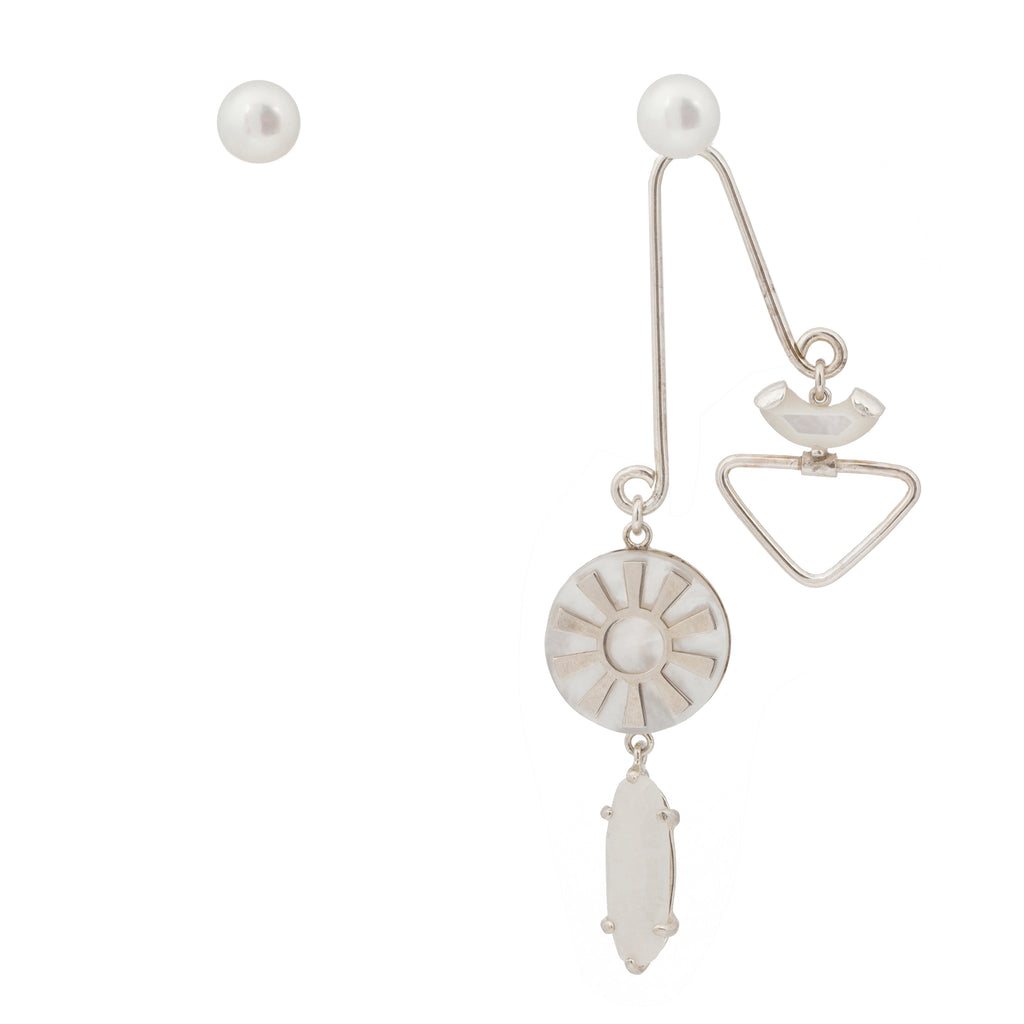 Mixed Earrings with balancing pendant and Pearl