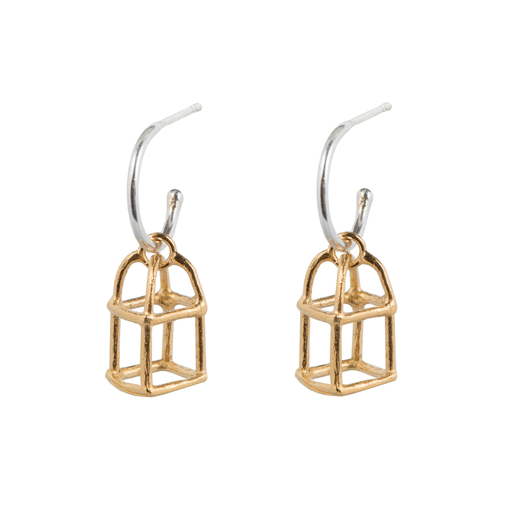 Delicate Hoop Earrings with birdcage