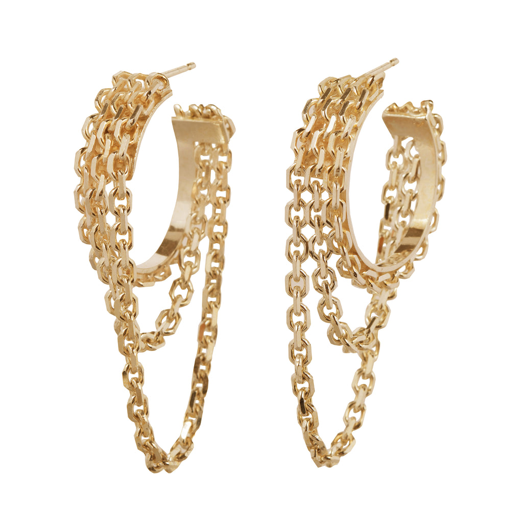 Statement Hoop Earrings with delicate chains