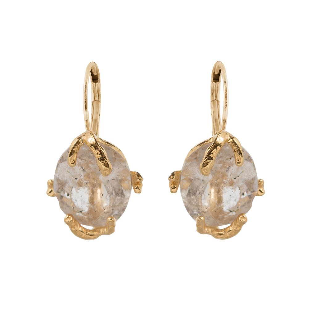 Leverback Earrings with golden Rutilated Quartz