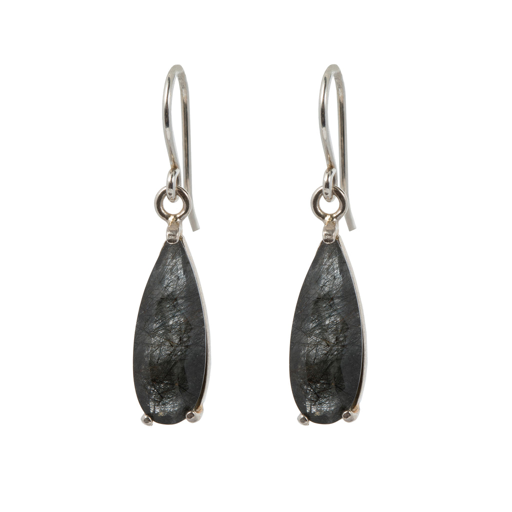 Hook Earrings with Tourmaline Quartz