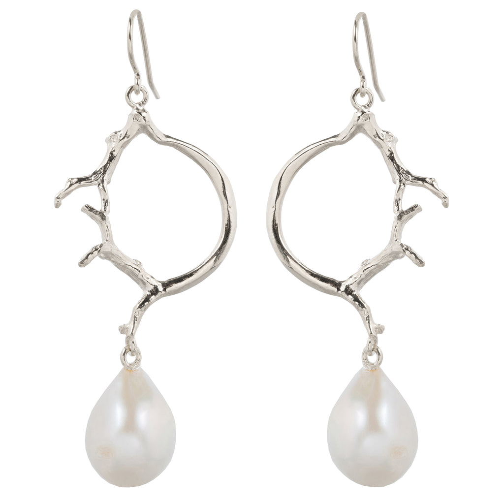 Statement Hook earrings with Freshwater Pearl
