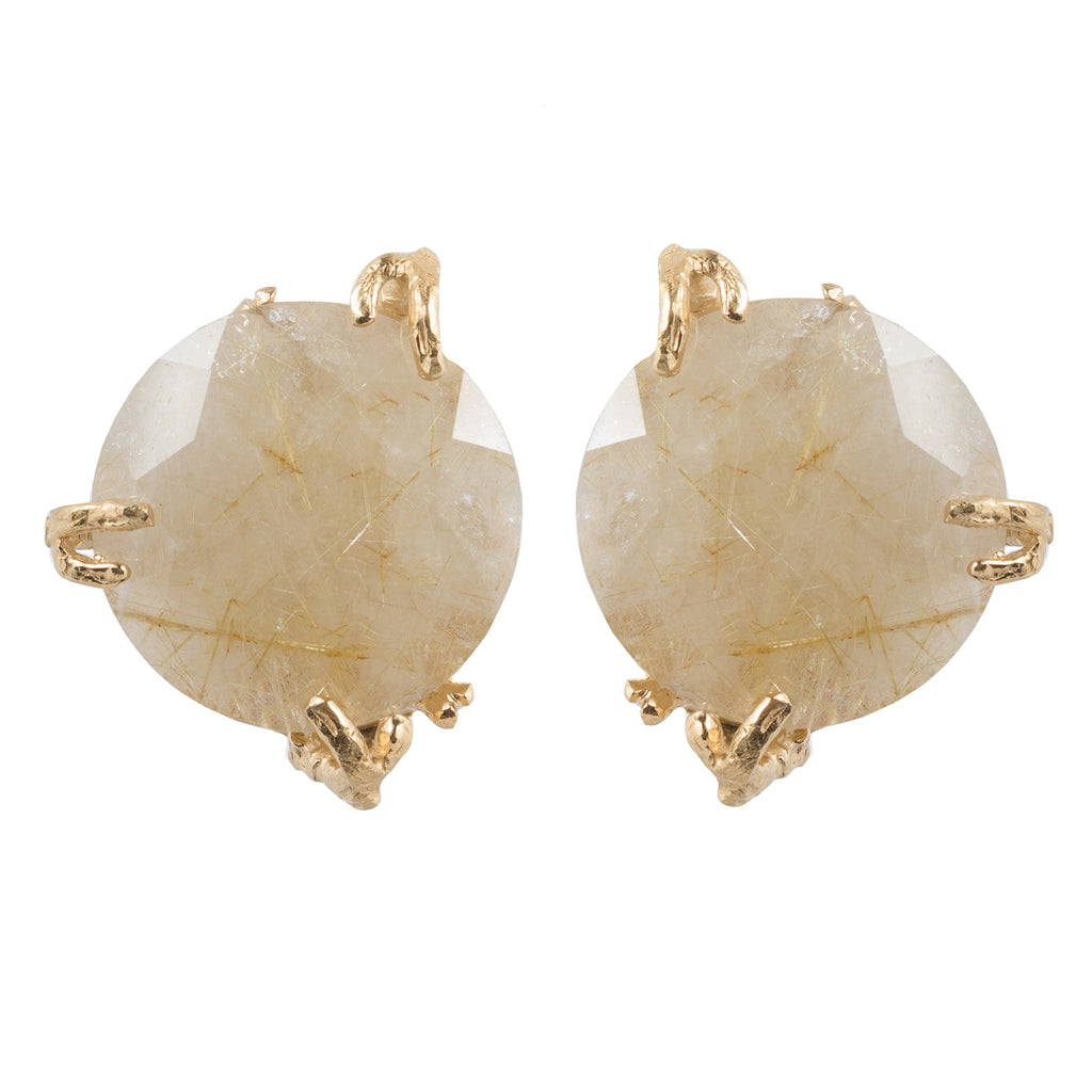Clip Earrings with golden Rutilated Quartz