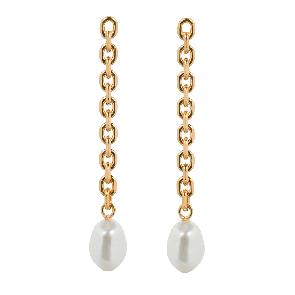 Stud Earrings with chain and Freshwater Pearl