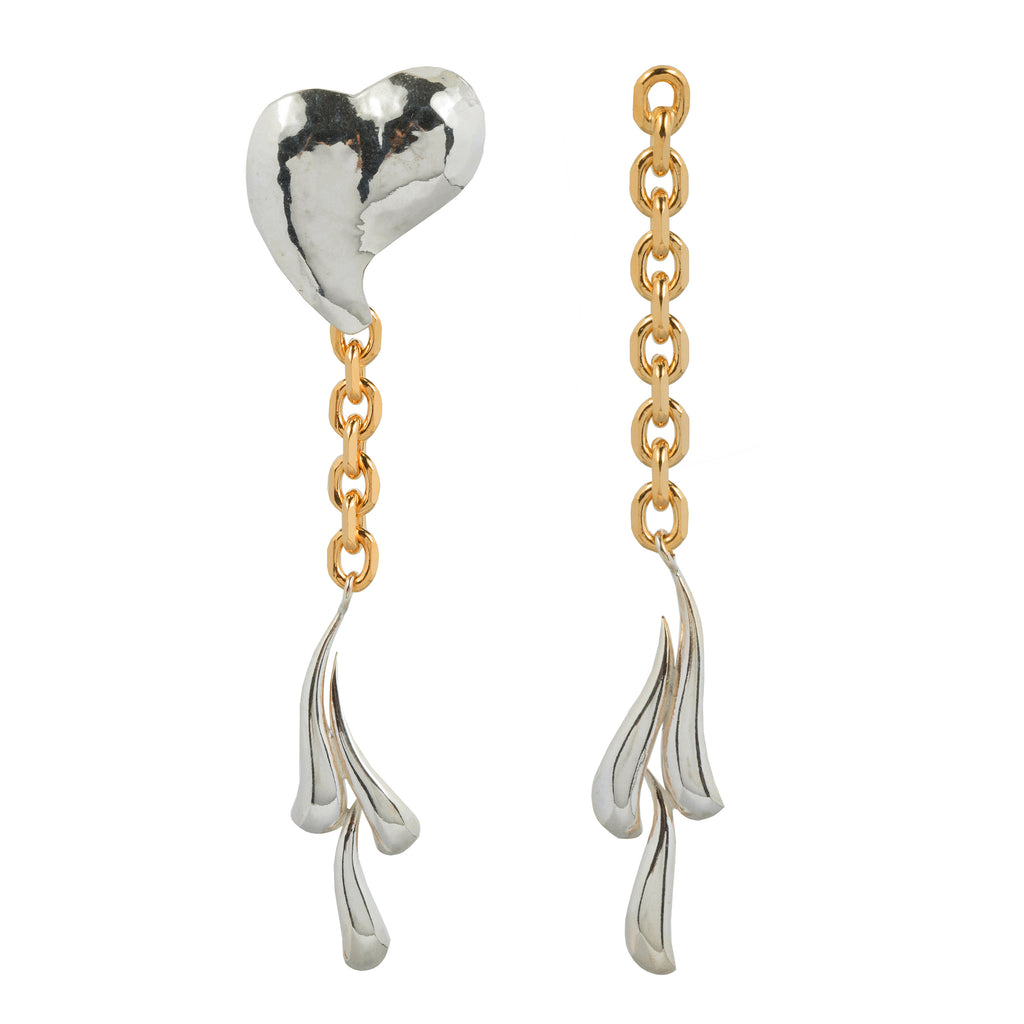 Statement Earrings with chain hammered heart