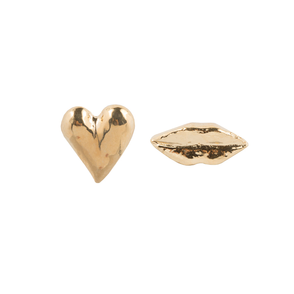 Mixed Stud Earrings with heart and lips
