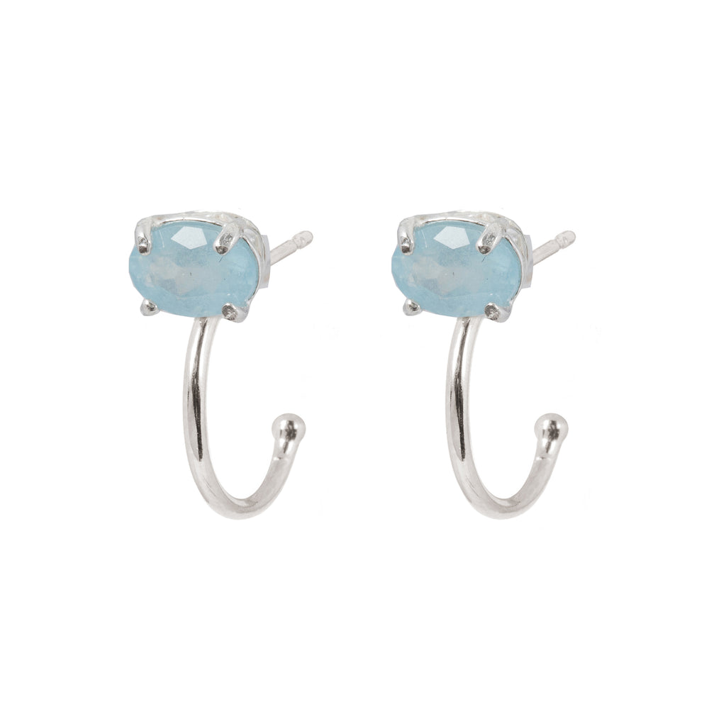 Fine Hoop Earrings with Aquamarine