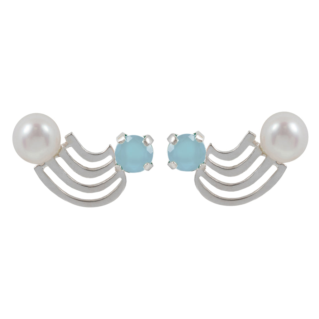 Fine rainbow Earrings with Aquamarine and Pearl