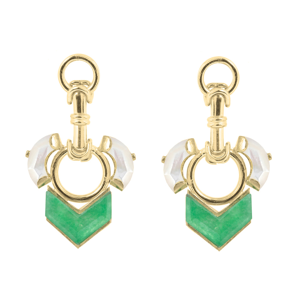 Statement Earrings with clasp elements, Mother of Pearl and green Quartzite