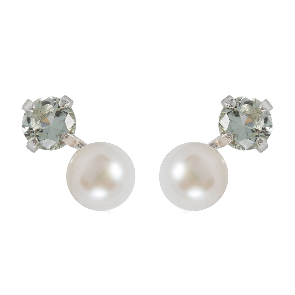 Stud Earrings with white Pearl and green crystal