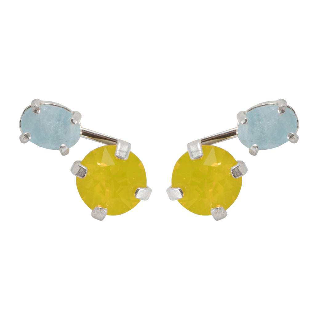 Stud Earrings with yellow crystal and Aquamarine