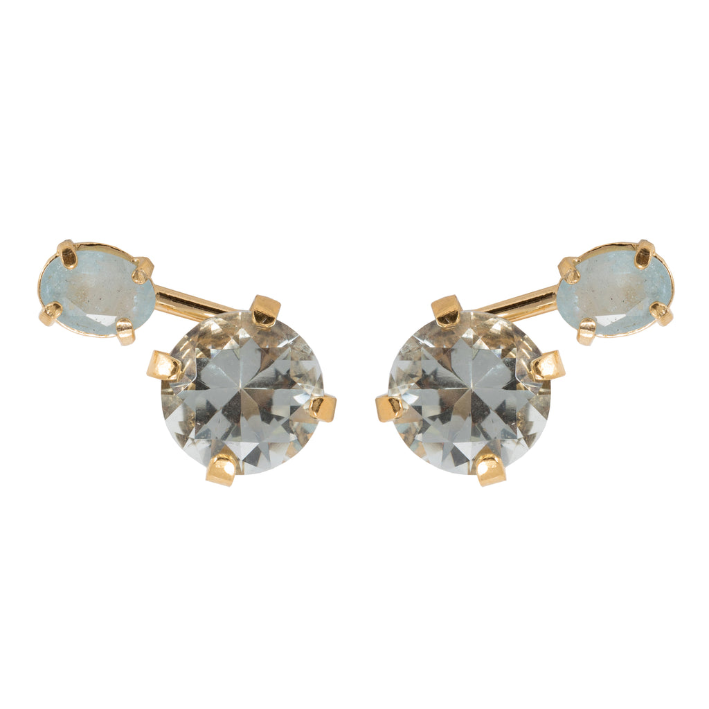 Stud Earrings with green crystal and Aquamarine