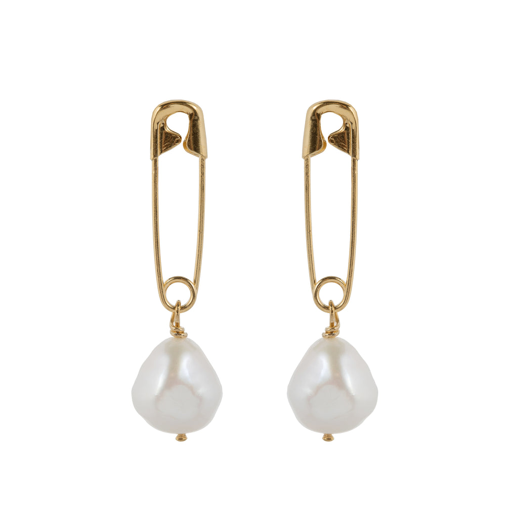 Stud Earrings with safety pin and Freshwater Pearl