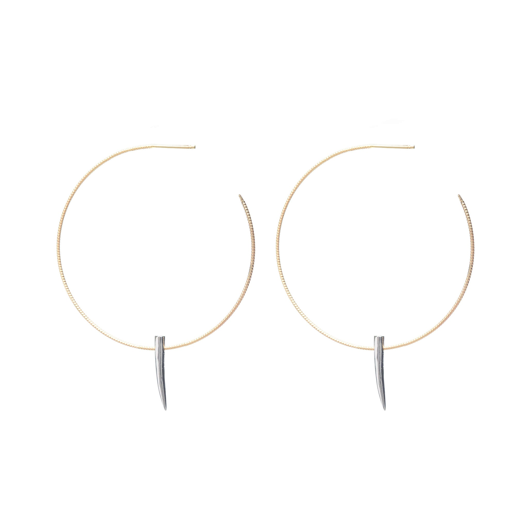 Sterling Silver mixed and spiked hoop earrings