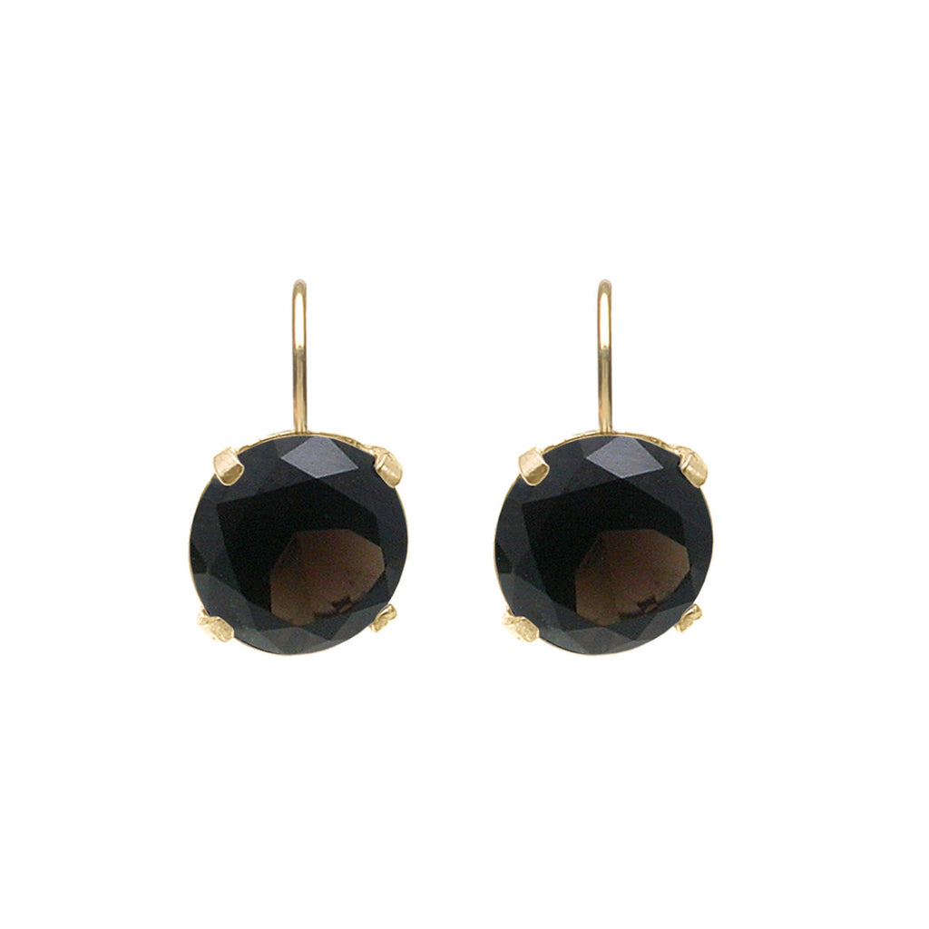 Sterling Silver leverback earrings with Smoky Quartz