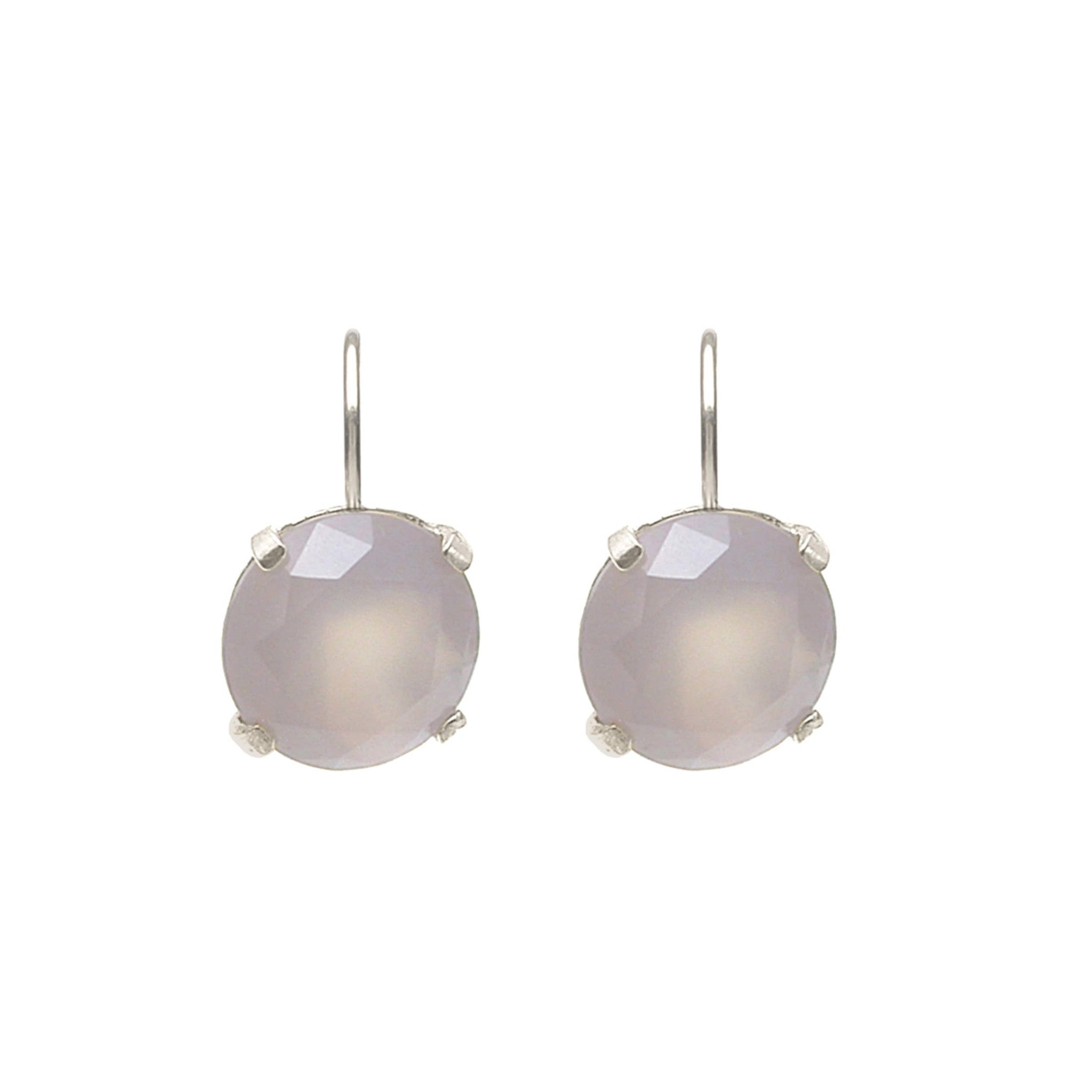 Sterling Silver leverback earrings with grey Agate
