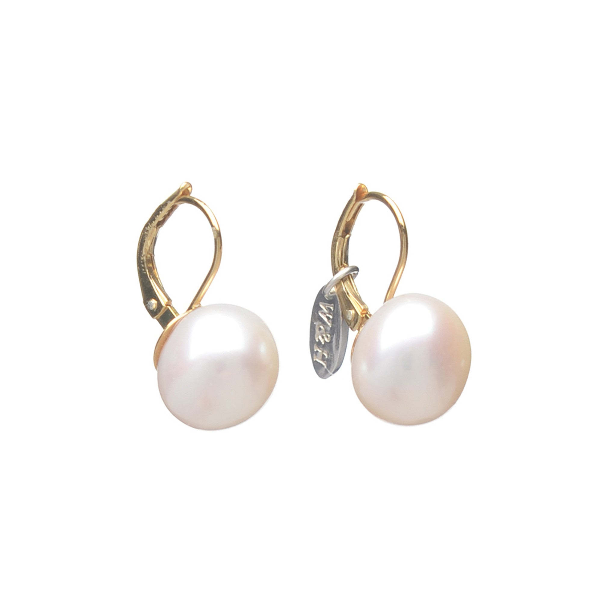 Sterling Silver leverback earrings with Freshwater Pearl