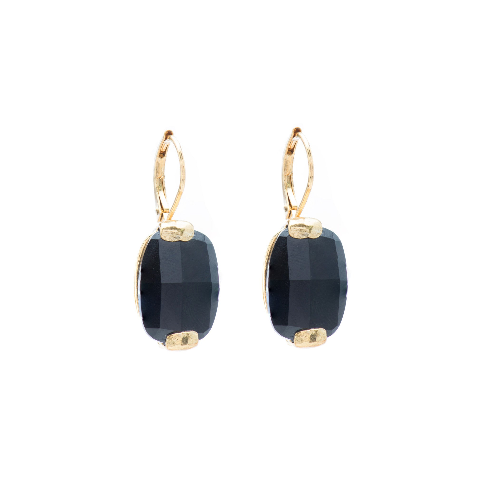 Leverback Earrings with Onyx