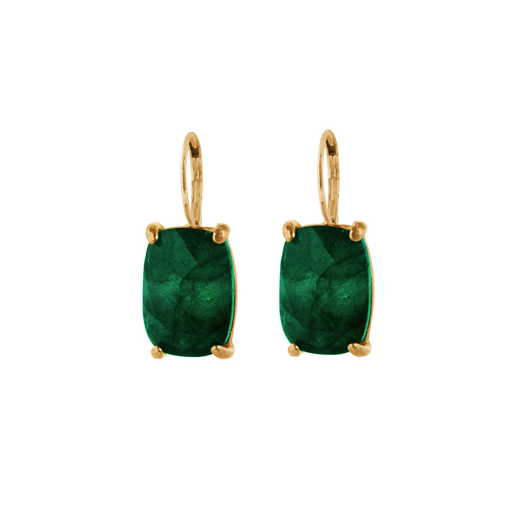 Leverback Earrings with green Agate