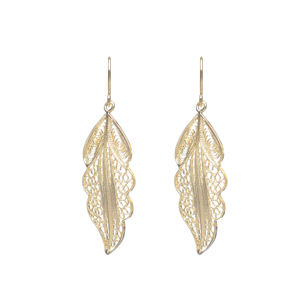 Gold plated Sterling Silver filigree leaf hook earrings