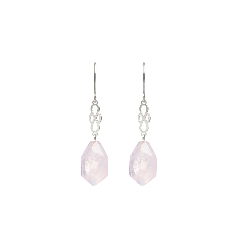 Sterling Silver hook earrings with pink Quartz
