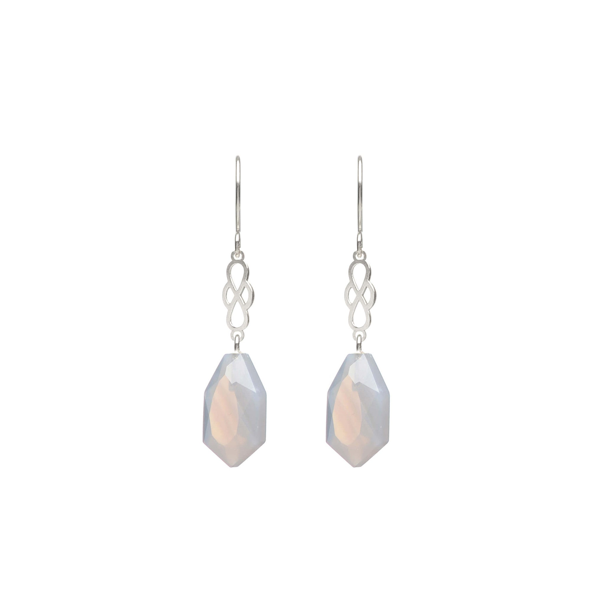 Sterling Silver hook earrings with grey Agate
