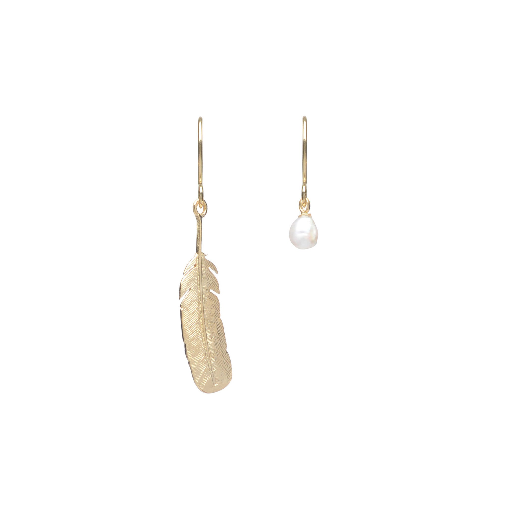 Sterling Silver feather hook earrings with Freshwater Pearl