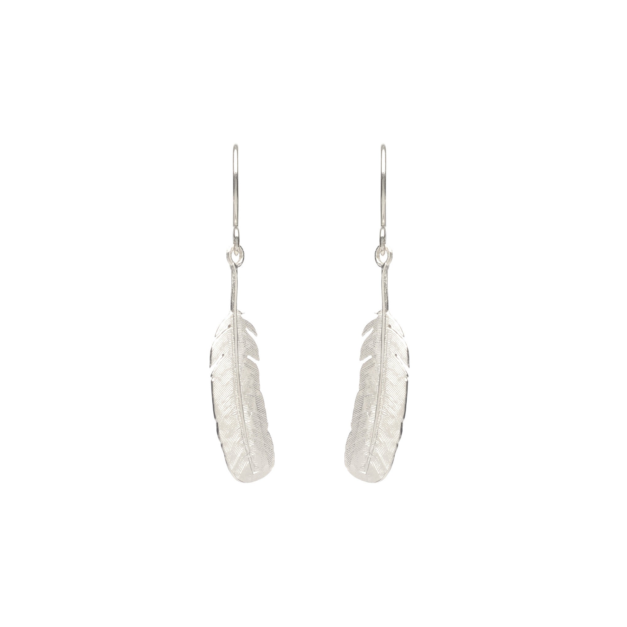 Sterling Silver feather hook earrings