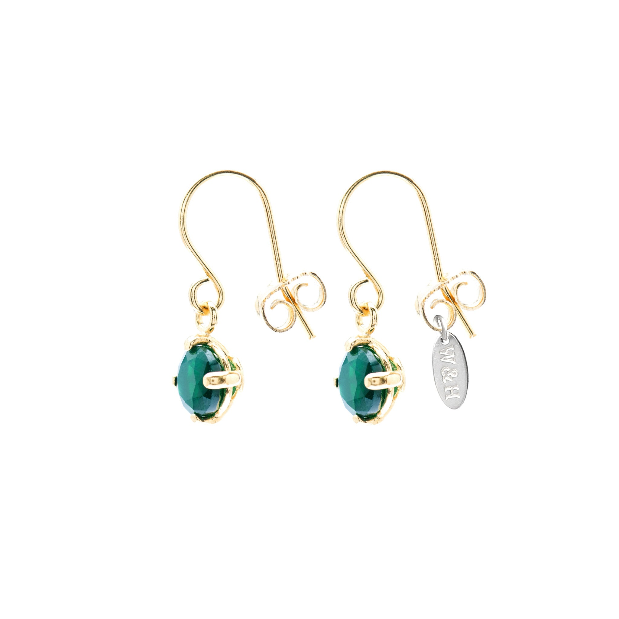 Hook Earrings with green Agate stone